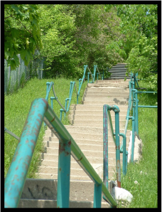 Photo of 100 steps from a side angle focusing on the hand rail
